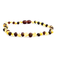 The Amber Monkey Baroque Baltic Amber 21-22 inch Necklace -Raw Lemon Raw Chestnut