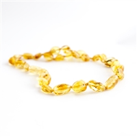 "The Amber Monkey Baltic Amber 8""-9"" Bracelet or Anklet-Lemon Bean"