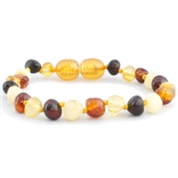 The Amber Monkey Polished Baroque Baltic Amber Bracelet- Multi