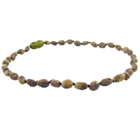 The Amber Monkey Baltic Amber 10-11 inch Necklace - Raw Olive Bean