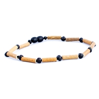 The Amber Monkey Hazelwood & Baltic Amber 12-13 inch Necklace - Raw Chestnut/Hazelwood