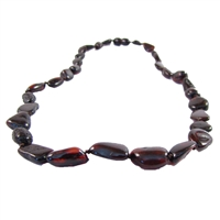 The Amber Monkey Polished Baltic Amber 21-22 inch Necklace - Chestnut Bean
