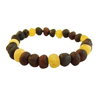 The Amber Monkey Baltic Amber Raw Lemon/Chestnut Trio Bracelet- 7-8 inch Stretch