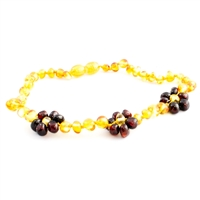 The Amber Monkey Baroque Baltic Amber 10-11 inch Necklace - Honey/Chestnut Flowers