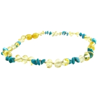 The Amber Monkey Baltic Amber & Gemstone 12-13 inch Necklace - Lemon Turquoise Chips POP