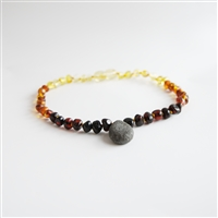 The Amber Monkey Polished Baltic Amber & Aroma Diffusing 10-11 inch Necklace - Rainbow Pendant