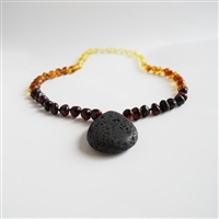 The Amber Monkey Polished Baltic Amber & Aroma Diffusing 17-18 inch Necklace - Rainbow Pendant