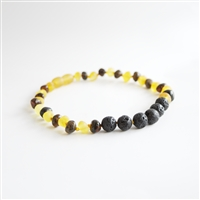 The Amber Monkey Baltic Amber & Aroma Diffusing 10-11 inch Necklace - Raw Lemon/Green Baroque