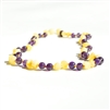 The Amber Monkey Baltic Amber & Gemstone 12-13 inch Necklace - Milk Amethyst