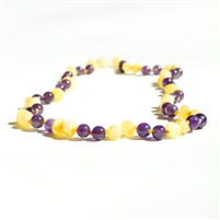 The Amber Monkey Baltic Amber & Gemstone 8 inch Bracelet- Milk Amethyst