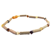 The Amber Monkey Hazelwood & Baltic Amber 14-15 inch Necklace - Multi/Hazelwood