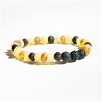 The Amber Monkey Baltic Amber & Aroma Diffusing 7-8 inch Bracelet - Raw Multi Stretch