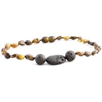 The Amber Monkey Polished Baltic Amber & Aroma Diffusing 12-13 inch Necklace - Green Trio