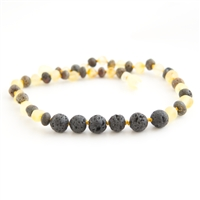 The Amber Monkey Baltic Amber & Aroma Diffusing 17-18 inch Necklace - Raw Lemon/Green Baroque