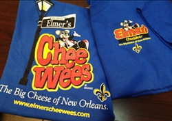 Elmer's CheeWees logo on blue short sleeved t-shirt
