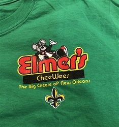 Elmer's CheeWees logo on kelly green t-shirt