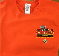 Elmer's CheeWees logo on orange t-shirt