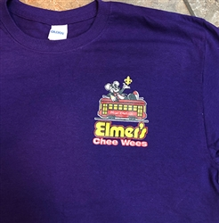 Elmer's CheeWees logo on purple t-shirt