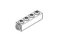 "Manifold, 1-1/4"" Inlet x (4) 3/4"" Outlets"