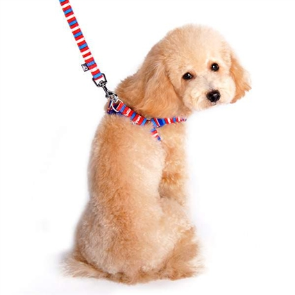 Microsuede Red, White and Blue Small Dog Harness