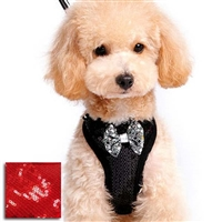Sequins Bow Tie Tuxedo Small Dog Step-In Harness
