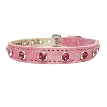 Designer Leather Dog Collars | Pink Bling