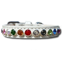 White Rainbow Leather Cat Collars