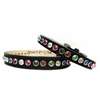 Black Leather Designer Dog Collar | Rainbow Bling