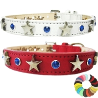 Star Spangled Genuine Leather Dog Collar