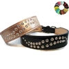 Big Swirl Bling Custom Leather Wide Dog Collar