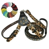 Leopard Leather Step-in Small Dog Harness with Bling