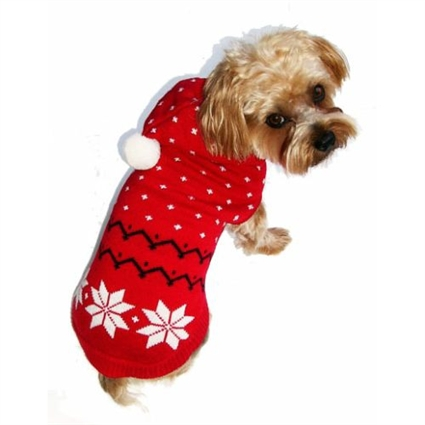 Red Snowflake Hooded Dog Sweater