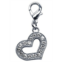 Heart Dangling Dog Cat Collar Charm
