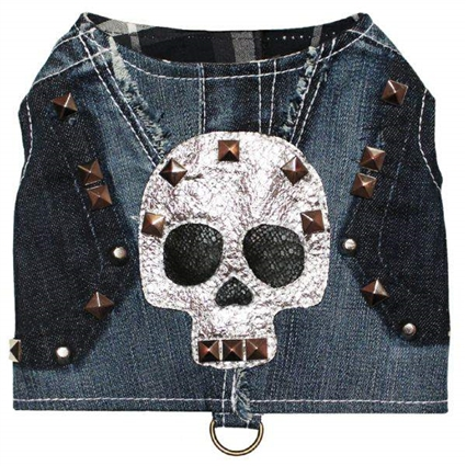 Rock Glam Denim Skull Designer Dog Harness Vest