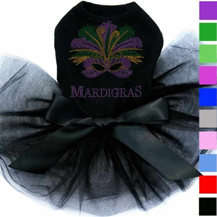 Designer Dog Tutu Dress | Mardi Gras Mask