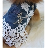 Denim and Lace Studded Dog Harness Vest