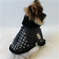 Leather Shearling Studded Designer Dog Coat Jacket