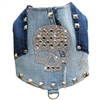 Sugar Skull Studded Denim Bling Dog Harness Vest