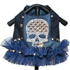 Sugar Skull Bling Denim Dog Harness Vest