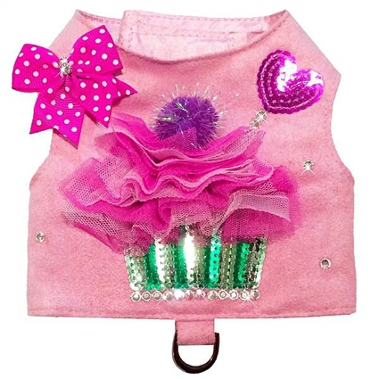 Pink Cupcake Ultrasuede Designer Dog Harness