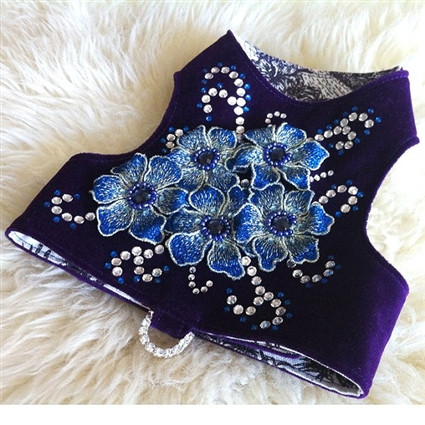 Purple in Bloom Velvet Small Dog Harness