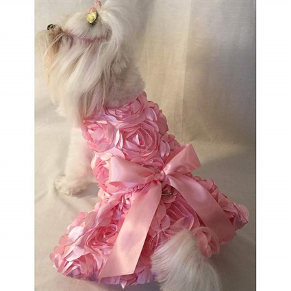 Pink Roses Designer Small Dog Dress