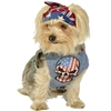 Red, White and Blue Skull Denim Dog Harness