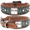 Hudson Turquoise Western Leather Dog Collar