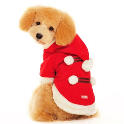 Santa Pompom Christmas Dog Coat