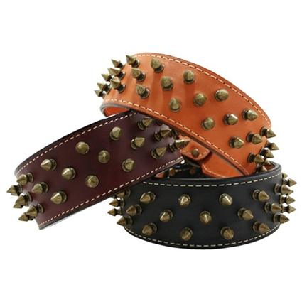 3 Row Spiked Heirloom Leather Dog Collars