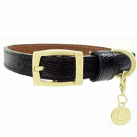 Black Snakeskin Patent Leather Dog Collar