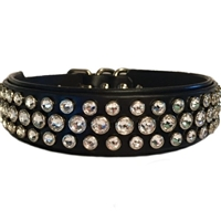 Crystal Cowgirl Leather Large Dog Collar | or Martingale