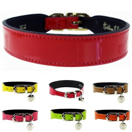 Patent Leather Tapered Designer Dog Collars