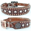 Merlot Alligator and Bling Western Leather Dog Collar